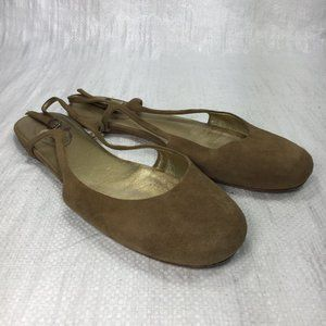 Prada Brown Suede Closed Toe Slingback Ankle Flats